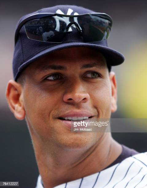 Alex Rodriguez of the New York Yankees looks on against the Boston Red Sox during their game at Yankee Stadium on August 30 2007 in the Bronx borough...