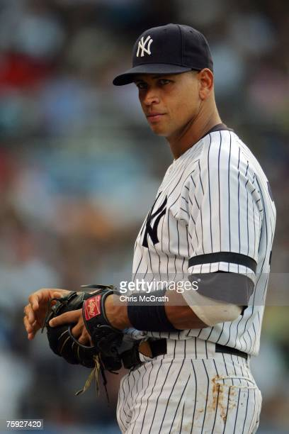 Alex Rodriguez of the New York Yankees looks on against the Chicago White Sox at Yankee Stadium on August 1 2007 in the Bronx borough of New York City