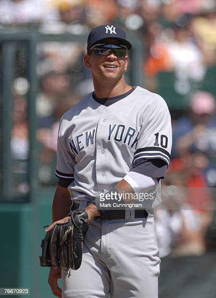 Alex Rodriguez of the New York Yankees looks on during pre game against the Detroit Tigers at Comerica Park in Detroit Michigan on August 26 2007 The...