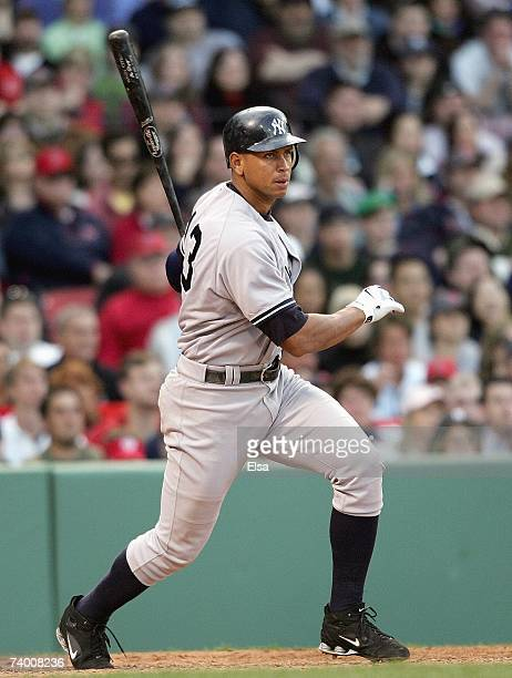 Alex Rodriguez of the New York Yankees makes a hit against the Boston Red Sox at Fenway Park on April 21 2007 in Boston Massachusetts