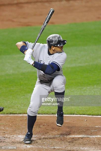 Alex Rodriguez of the New York Yankees on Jackie Robinson Day prepares for a pitch during a baseball game against the Baltimore Oriole at Orioles...