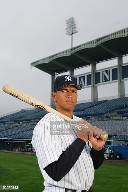 Alex Rodriguez of the New York Yankees poses for a portrait during Yankees Photo Day at Legends Field on February 25 2005 in Tampa Florida