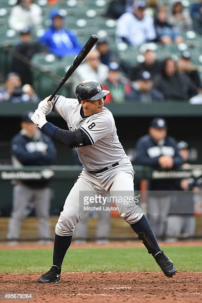 Alex Rodriguez of the New York Yankees prepares for a pitch during game one of a baseball game against the Baltimore Orioles at Oriole Park at Camden...