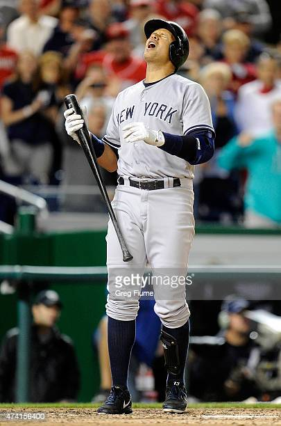 Alex Rodriguez of the New York Yankees reacts after being called out on strikes to end the game against the Washington Nationals at Nationals Park on...