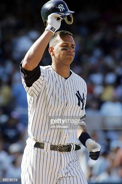 Alex Rodriguez of the New York Yankees reacts after flying out to end the third inning against the Cleveland Indians on July 9, 2005 at Yankee...
