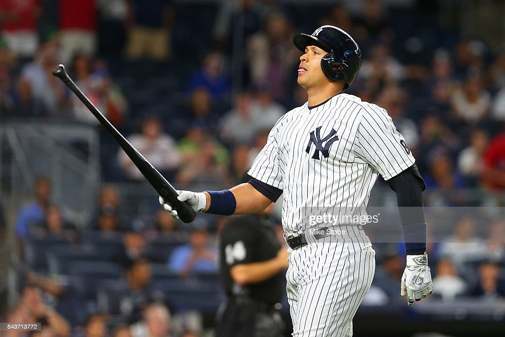 Alex Rodriguez #13 of the New York Yankees reacts after lining out to second in the ninth inning against the Texas Rangers at Yankee Stadium on June 29, 2016 in the Bronx borough of New York City.