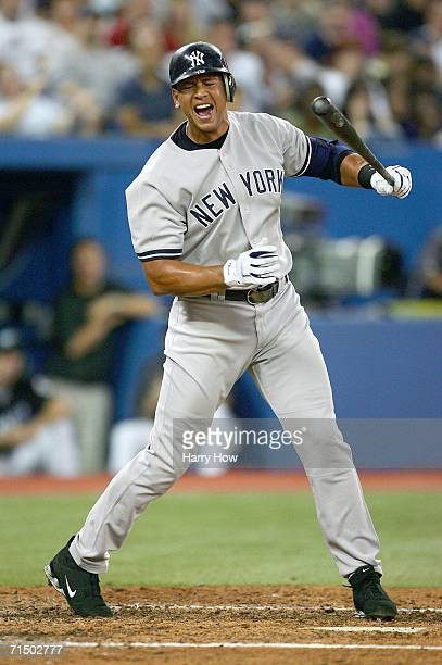 Alex Rodriguez of the New York Yankees reacts to his strikeout against the Toronto Blue Jays during the sixth inning on July 22 2006 at the Rogers...