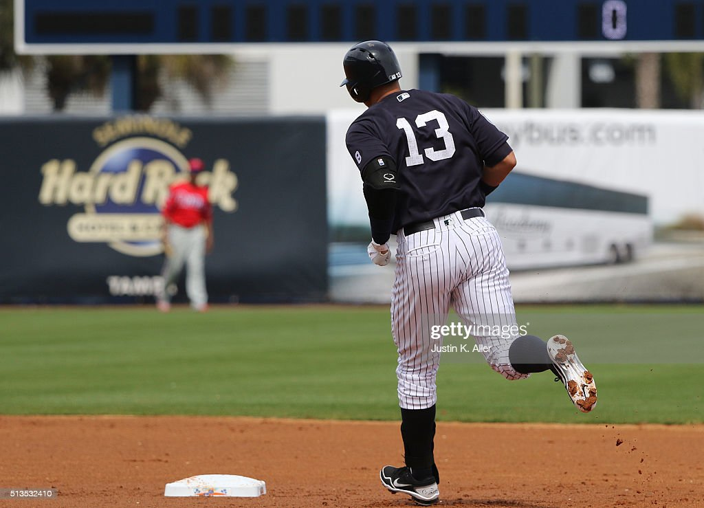 Alex Rodriguez #13 of the New York Yankees rounds second after hitting a two run home run in the first inning during the game against the Philadelphia Phillies at George M. Steinbrenner Field on March 3, 2016 in Clearwater, Florida.