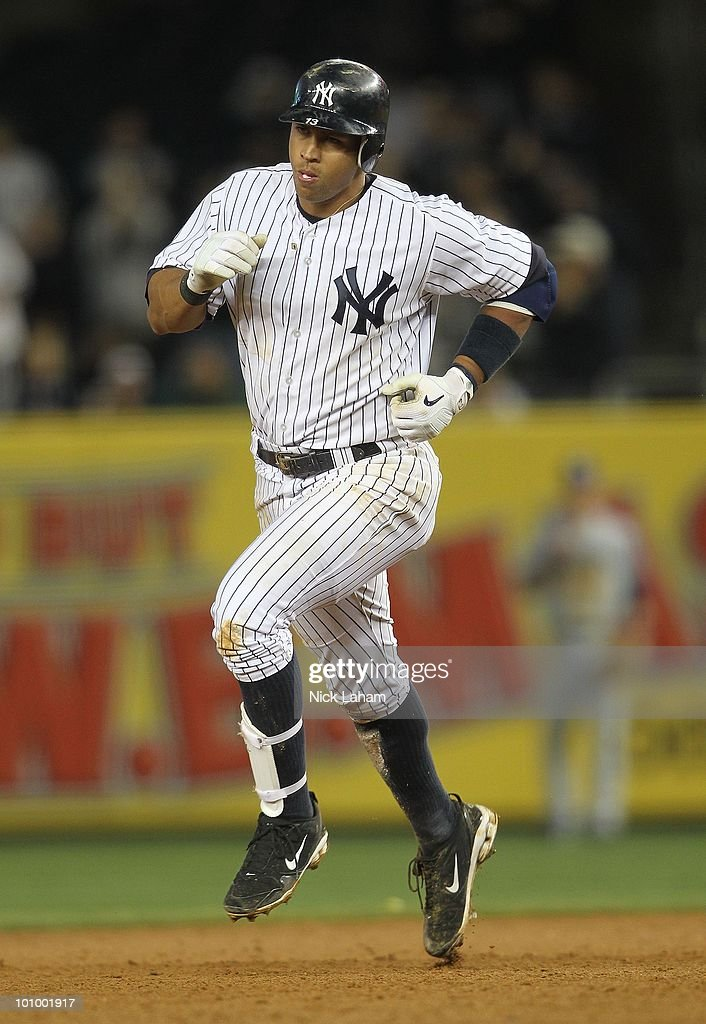 Alex Rodriguez #13 of the New York Yankees runs the bases against the Tampa Bay Rays at Yankee Stadium on May 19, 2010 in the Bronx borough of New York City.