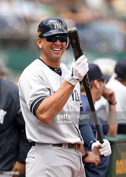Alex Rodriguez of the New York Yankees smiles before he bats against the Oakland Athletics at Oco Coliseum on May 26 2012 in Oakland California