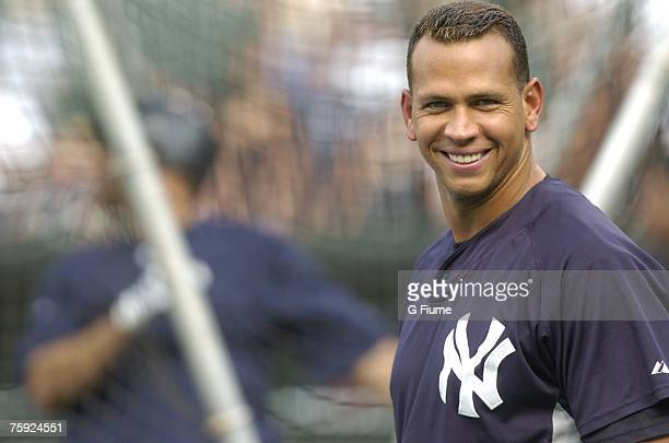Alex Rodriguez of the New York Yankees smiles before the game against the Baltimore Orioles at Camden Yards July 28 2007 in Baltimore Maryland