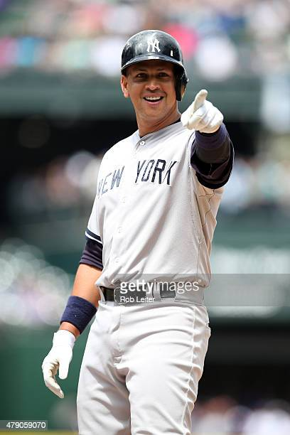 Alex Rodriguez of the New York Yankees smiles during the game against the Seattle Mariners at Safeco Field on June 3 2015 in Seattle Washington The...