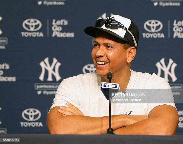 Alex Rodriguez of the New York Yankees speaks at a press conference prior to his final game against the Tampa Bay Rays on August 12 2016 at Yankee...