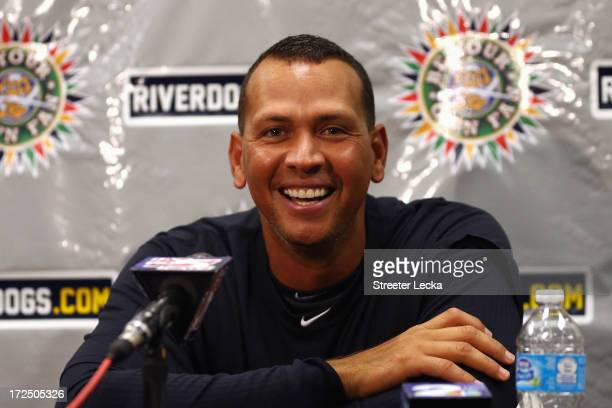 Alex Rodriguez of the New York Yankees speaks to the media before his game for the Charleston RiverDogs at Joseph P Riley Jr Park on July 2 2013 in...