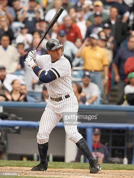 Alex Rodriguez of the New York Yankees stands at bat against the Boston Red Sox at Yankee Stadium on April 29 2007 in the Bronx borough of New York...