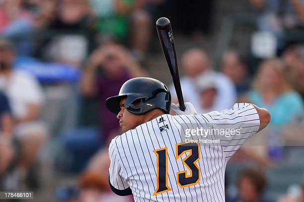 Alex Rodriguez of the New York Yankees stands at bat in the first inning during a rehab game for the Trenton Thunder against the Reading Fightin...