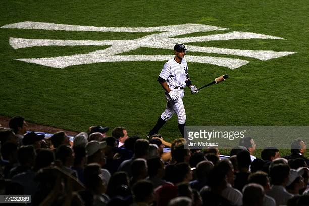 Alex Rodriguez of the New York Yankees stands on deck against the Cleveland Indians during Game Four of the American League Division Series at Yankee...