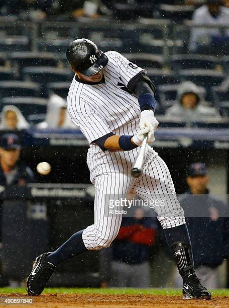 Alex Rodriguez of the New York Yankees strikes out against Rich Hill of the Boston Red Sox in the first inning during their game at Yankee Stadium on...