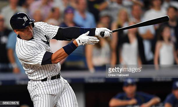 Alex Rodriguez of the New York Yankees strikes out in the fifth inning against the Tampa Bay Rays at Yankee Stadium on August 12 2016 in New York City