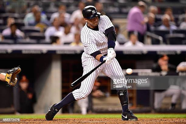 Alex Rodriguez of the New York Yankees swings at a pitch against the Baltimore Orioles at Yankee Stadium on September 8 2015 in New York City The...
