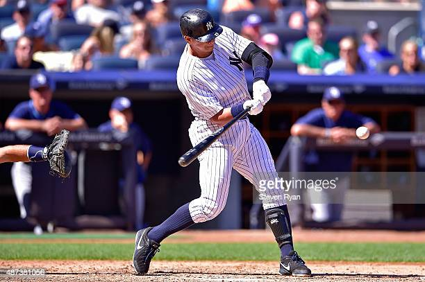 Alex Rodriguez of the New York Yankees swings at a pitch in the fourth inning against the Tampa Bay Rays Stadium on September 5 2015 in New York City...