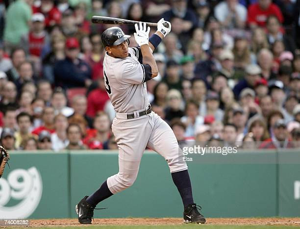 Alex Rodriguez of the New York Yankees swings at the pitch against the Boston Red Sox at Fenway Park on April 21 2007 in Boston Massachusetts