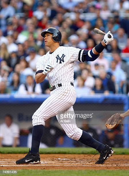 Alex Rodriguez of the New York Yankees swings at the pitch against the Boston Red Sox on May 21, 2007 at Yankee Stadium in the Bronx borough of New...