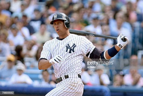 Alex Rodriguez of the New York Yankees swings at the pitch against the Tampa Bay Devil Rays on July 21, 2007 at Yankee Stadium in the Bronx borough...