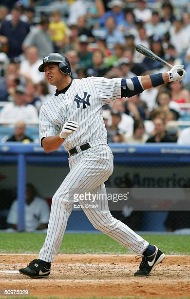 Alex Rodriguez of the New York Yankees swings during the interleague game against the San Diego Padres on June 13 2004 at Yankee Stadium in the Bronx...
