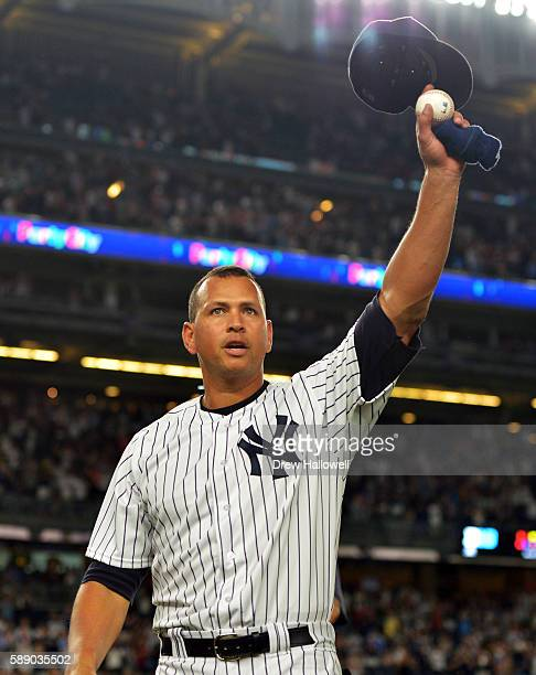 Alex Rodriguez of the New York Yankees tips his hat to the crowd in the ninth inning against the Tampa Bay Rays at Yankee Stadium on August 12 2016...