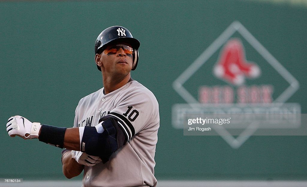 Alex Rodriguez #13 of the New York Yankees walks back to the dugout after grounding out during a game against the Boston Red Sox at Fenway Park on September 15, 2007 in Boston, Massachusetts.