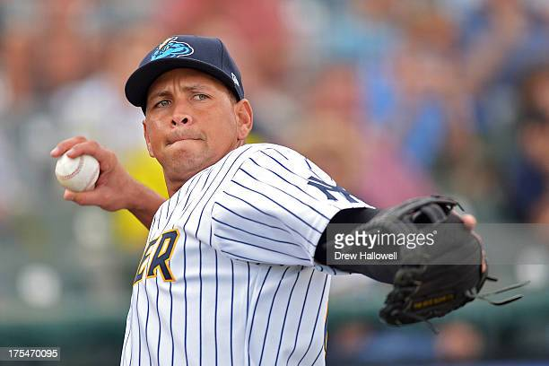 Alex Rodriguez of the New York Yankees warms up before a rehab game for the Trenton Thunder against the Reading Fightin Phils at Arm Hammer Park on...