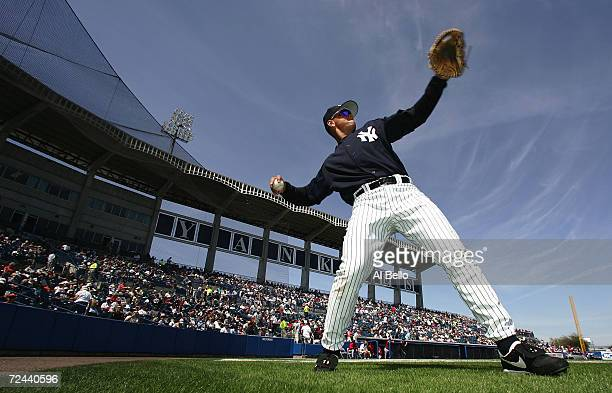 Alex Rodriguez of the New York Yankees warms up before his game against the Cincinnati Reds at their preseason game on March 6, 2005 at Legends Field...