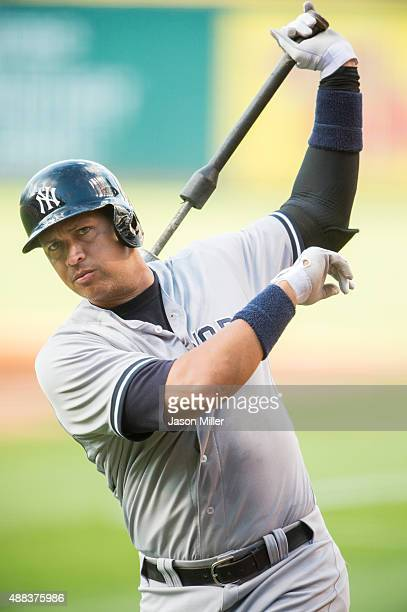 Alex Rodriguez of the New York Yankees warms up prior to batting during the first inning against the Cleveland Indians at Progressive Field on August...