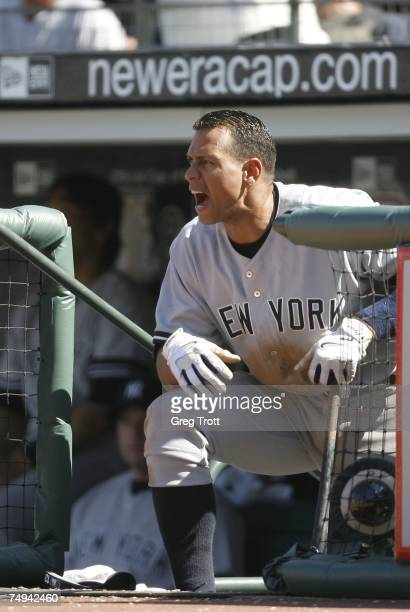 Alex Rodriguez of the New York Yankees yells from the dugout against the San Francisco Giants during a Major League Baseball game at ATT Park June 23...