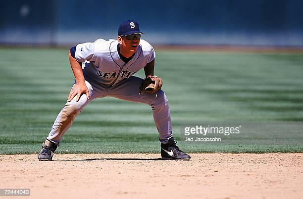 Alex Rodriguez of the Seattle Mariners stands ready to move during the game against the Oakland Athletics at the Network Coliseum in Oakland...