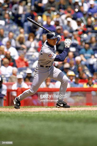 Alex Rodriguez of the Seattle Mariners swings at a pitch during a 1997 season game