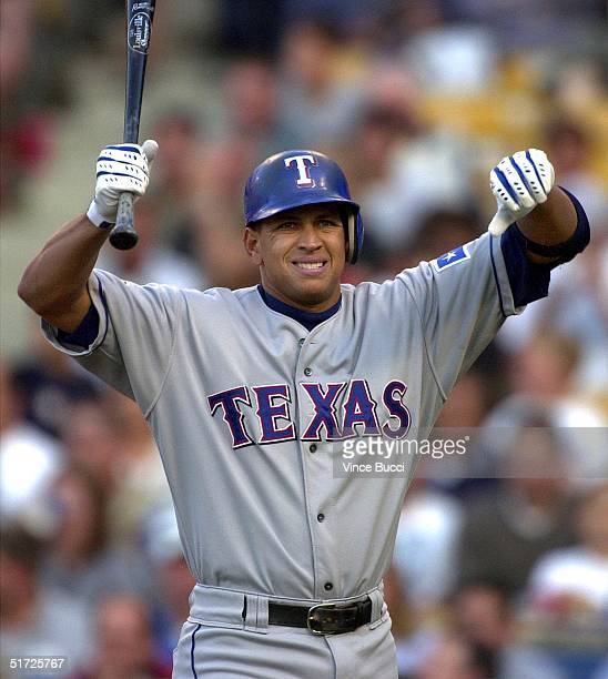 Alex Rodriguez of the Texas Rangers reacts after hitting a foul ball gainst the Los Angeles Dodgers 11 June 2001 in Los Angeles CA The Rangers won...