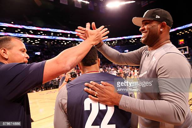 Alex Rodriguez Robinson Cano and CC Sabathia attend the 2016 Roc Nation Summer Classic Charity Basketball Tournament at Barclays Center of Brooklyn...