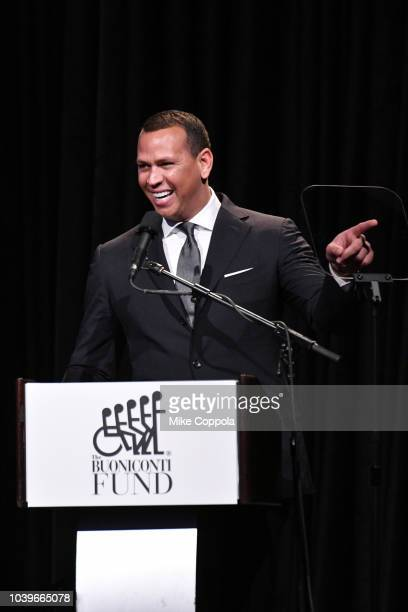 Alex Rodriguez speaks onstage during the 33rd Annual Great Sports Legends Dinner which raised millions of dollars for the Buoniconti Fund to Cure...