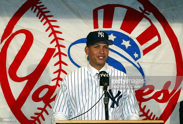 Alex Rodriguez speaks to the media during a press conference at Yankee Staduim 17 February to formally announce him to the team Rodriguez a shortstop...
