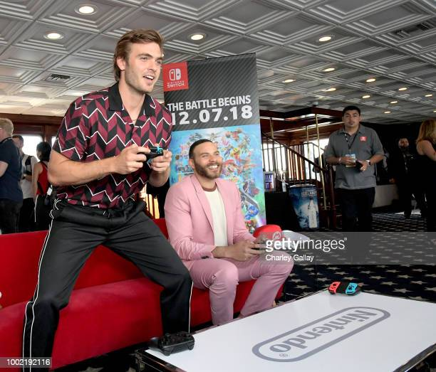 Alex Roe and Ian Verdun put their gaming skills to the test playing Mario Kart 8 Deluxe on Nintendo Switch at the Variety Studio at ComicCon 2018 on...
