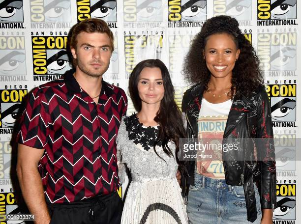 """Alex Roe, Eline Powell and Fola Evans-Akingbola attend Freeform's """"Siren"""" Press Line during Comic-Con International 2018 at Hilton Bayfront on July..."""