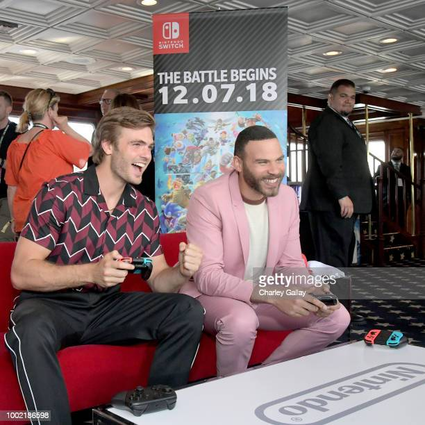 Alex Roe Ian Verdun put their gaming skills to the test playing Mario Kart 8 Deluxe on Nintendo Switch at the Variety Studio at ComicCon 2018 on July...