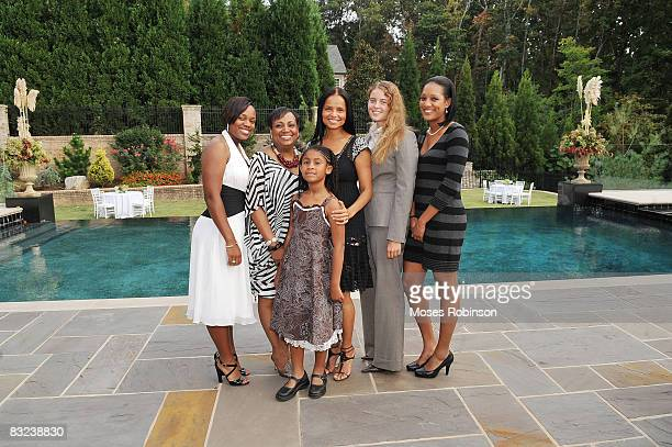 Alex Roman Vicki PalmerOlivia Bailey Victoria Rowell Maya Fahey and Stephanie Wash attend the engagement party of actress Victoria Rowell and...