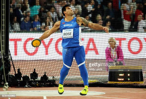 Alex Rose of Samoa competes in the Men's Discus qualification during day one of the 16th IAAF World Athletics Championships London 2017 at The London...