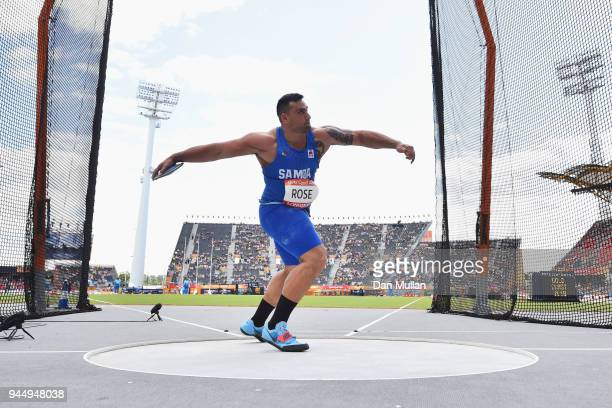 Alex Rose of Samoa competes in the Men's Discus qualification during athletics on day eight of the Gold Coast 2018 Commonwealth Games at Carrara...