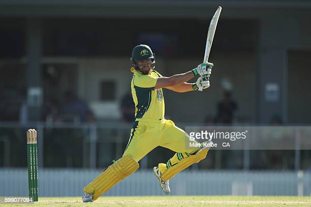 Alex Ross of Australia A bats during the Cricket Australia Winter Series Final match between India A and Australia A at Harrup Park on September 4...