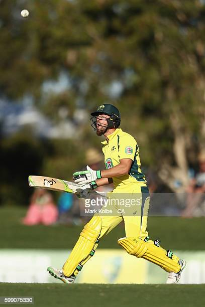 Alex Ross of Australia A calls as he bats during the Cricket Australia Winter Series Final match between India A and Australia A at Harrup Park on...
