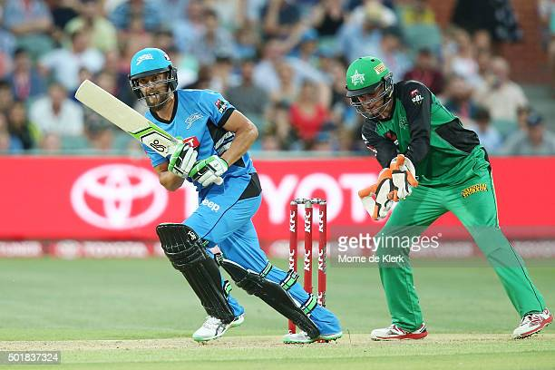 Alex Ross of the Adelaide Strikers bats during the Big Bash League match between the Adelaide Strikers and the Melbourne Stars at Adelaide Oval on...